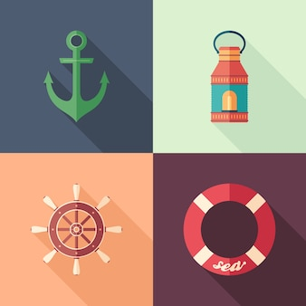 Set of summer flat square icons