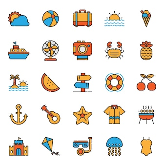 Set of summer holiday party icon