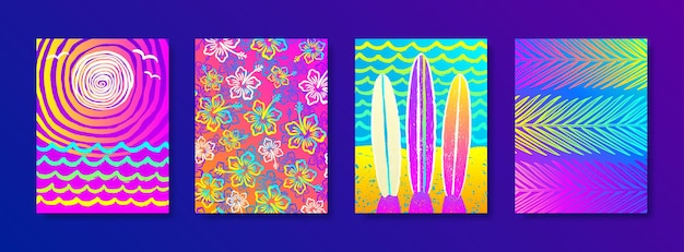 Set of summer holidays and vacation   multicolored background