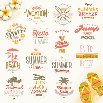 Set of summer holidays, vacation and travel  typography . lettering emblems and logo.