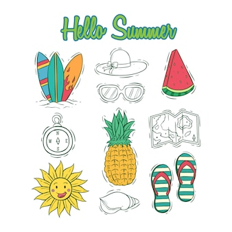 Set of summer icons collection with colored hand drawn style