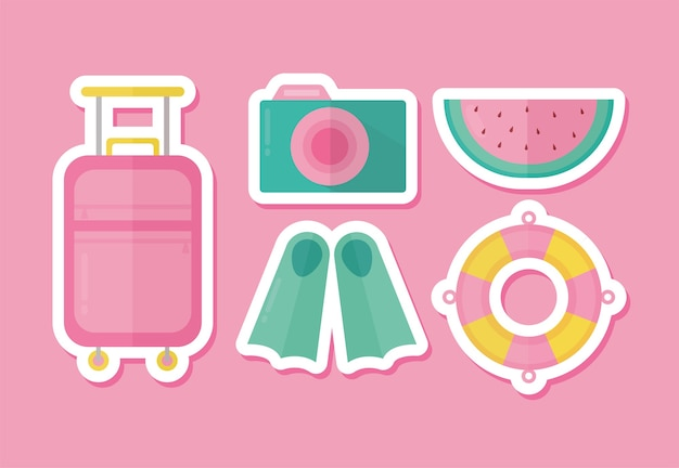 Set of summer icons on a pink illustration design