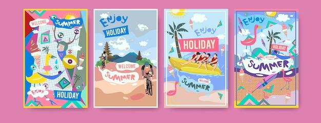 Set of summer illustration for poster