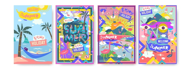 Set of summer illustration for poster