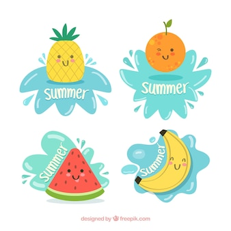 Set of summer labels with cute fruits
