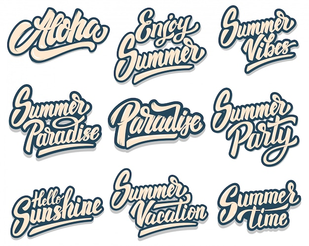 Set of summer lettering phrases. aloha, paradise, summer party.  element for poster, print, card, banner, flyer.  image