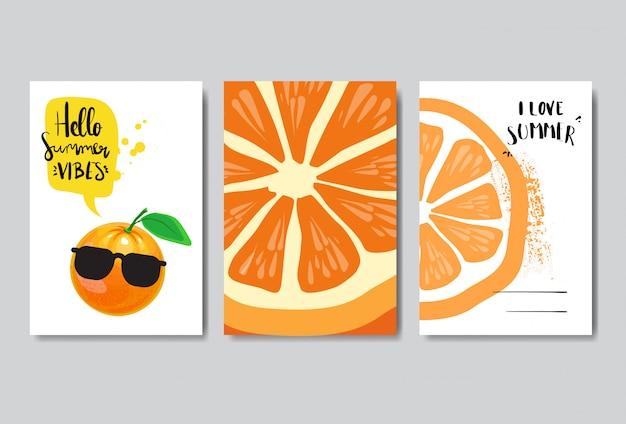 Set summer love orange badge isolated typographic