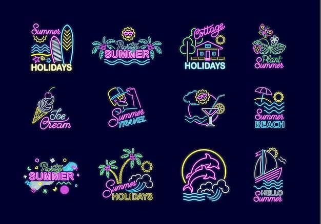 Set of summer neon signs with bright illumination. summer holidays signboard, logo, neon emblem, night bright advertising. travel, rest on sea, nature, parties, sweets, beach. vector illustration