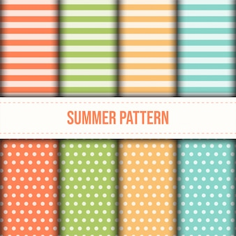 Set of summer pastel color stripes and dot pattern.