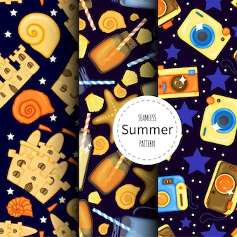 Set of summer patterns. cartoon style. vector illustration.