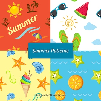 Set of summer patterns with elements