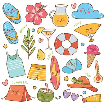 Set of summer related object in kawaii doodle style