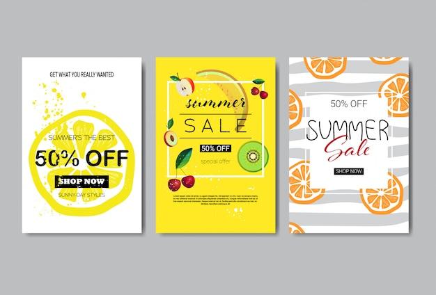 Set of summer sale banner design.