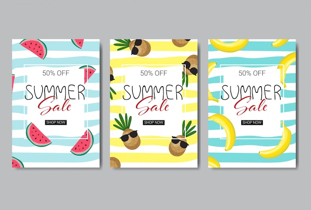 Set of summer sale banner design.