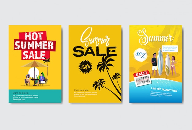 Set summer sale banner or poster template with tropical palm