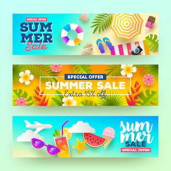 Set of summer sale banners. vacation, holidays and travel colorful bright illustration.