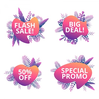 Set of summer sale banners with tropical leaf illustration