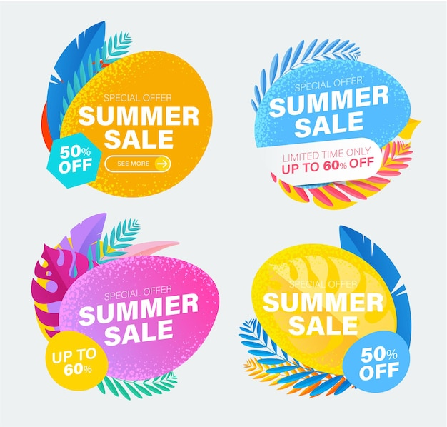 Set of summer sale and discount colorful stickers with tropical leaves