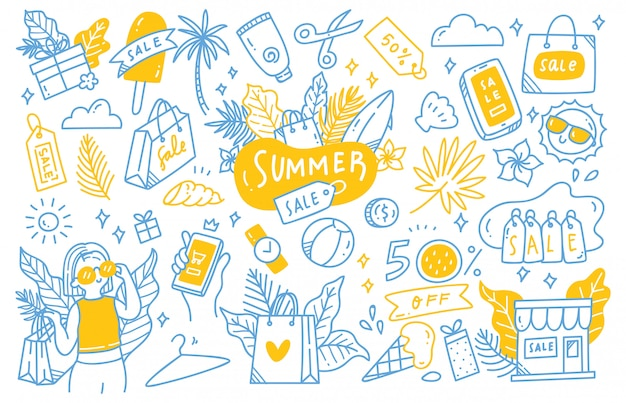 Set of summer sale doodle collection