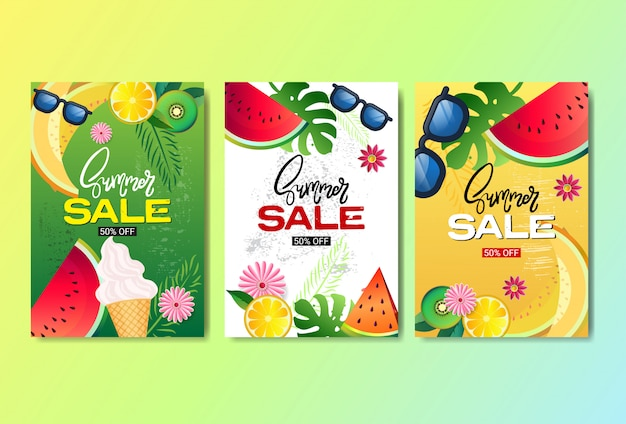 Set summer sale fresh fruits banner