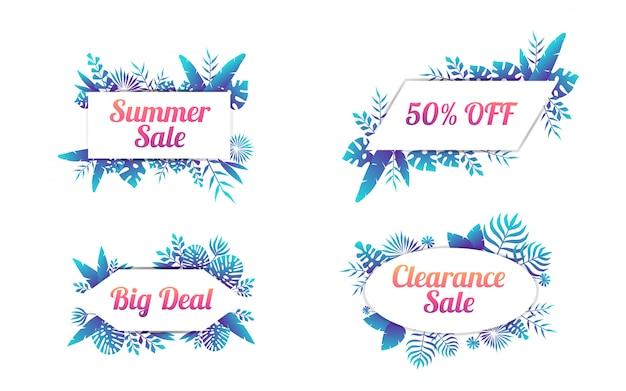 Set of summer sale labels with tropical leaf illustration
