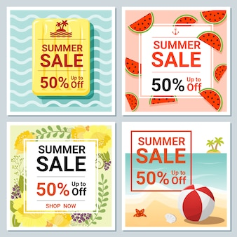 Set of summer sale template banner