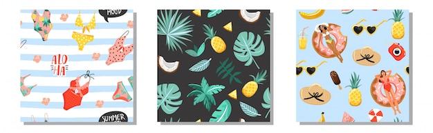 Set of summer seamless pattern