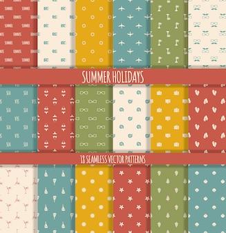 Set of summer seamless patterns
