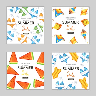 Set of summer square flyers and banners for advertising and discounts