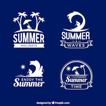 Set of summer stickers in retro style