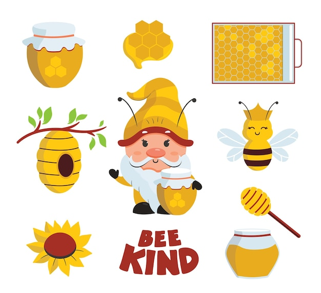 The set of summer stickers with bee gnome text and icons the carton is good for bee day bee kind