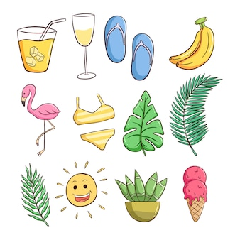 Set of summer themed icons