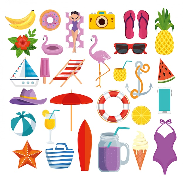Set of summer time icons with tropical fruits and exotic vacation