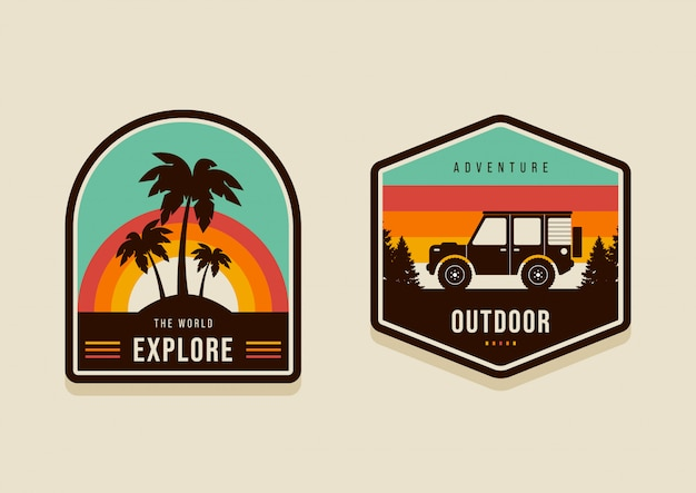 Set of summer travel badges and explore the world concept modern vintage retro style