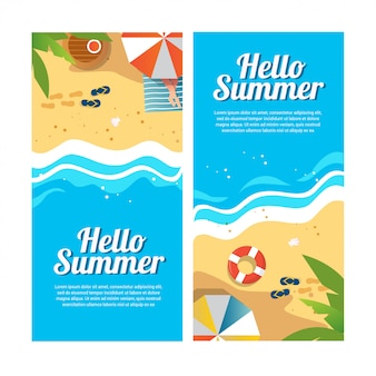 Set of summer travel banners with beach umbrellas, sandals, waves and tropical exotic palm top view illustration