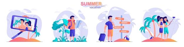 사람들이 문자의 여름 휴가 평면 디자인 컨셉 일러스트 설정