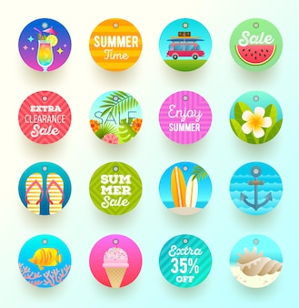 Set of summer vacation labels and tags