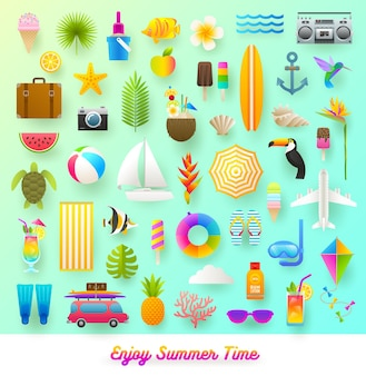 Set of summer vacation and travel items flat style illustration