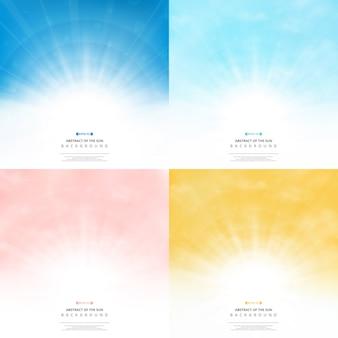 Установите фон солнца с цветами стиля фона неба