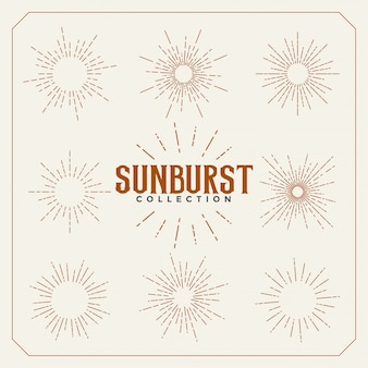 Set of sun burst vintage lines design