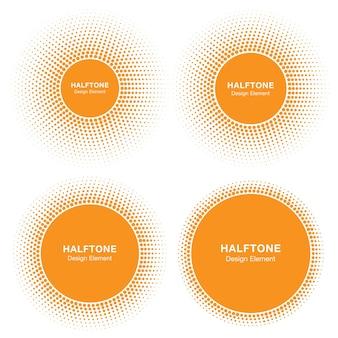 Set of sun circle halftone logo design elements sun vector icon sun halftone emblem