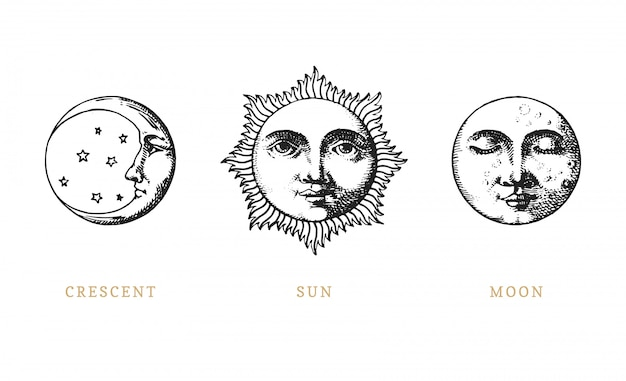 Set of sun, moon and crescent, hand drawn in engraving style.