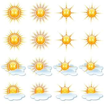 Set of sun and weather icons