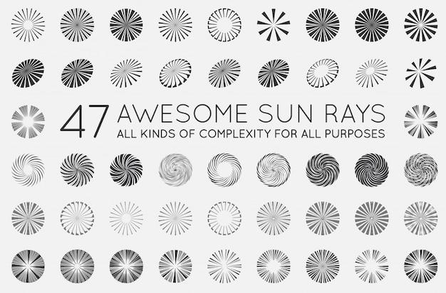Set of sunburst elements. rays of sun.