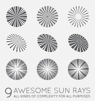 Set of sunburst rays of sun