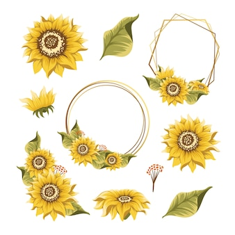 Set of sunflowers design element for wedding invitation and birthday card