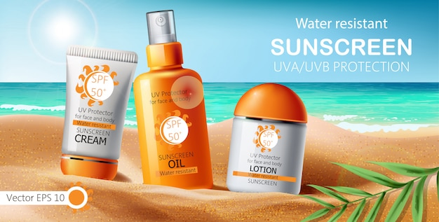 Set of sunscreen cream, lotion and oil. uva uvb protection. water resistant. realistic. sea shore and leaves background