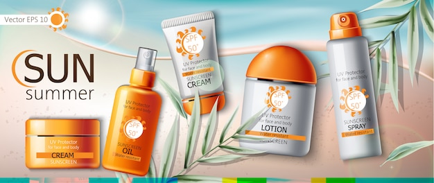 Set of sunscreen cream, lotion, spray and oil. uv protection. water resistant. realistic. beach and leaves background