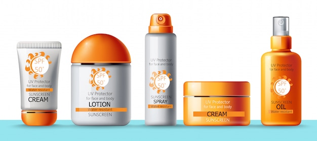Set of sunscreen cream, lotion, spray and oil. uv protection. water resistant. realistic