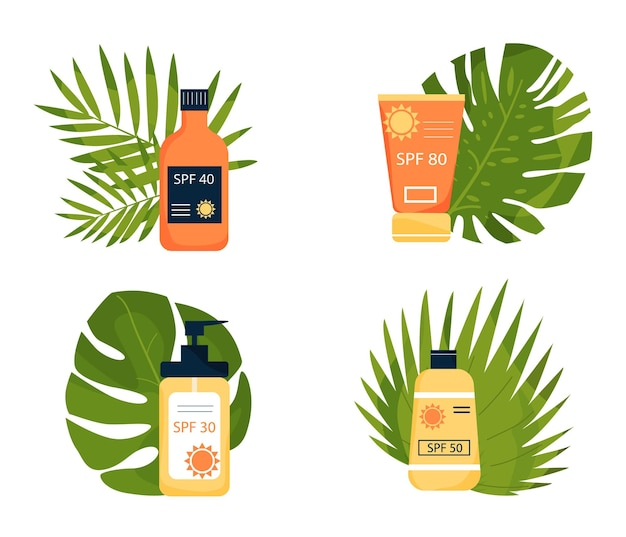Set of sunscreens on the ground of tropical leaves tubes with inscription spf